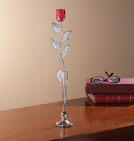 Personalized Silver Plated Red Rose