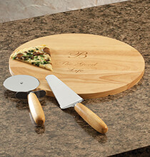 Gifts for Her - Personalized Pizza Board with Utensils