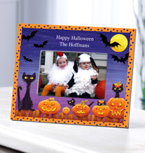 Room Décor - Personalized Cats, Bats and Boo Halloween Photo Frame
