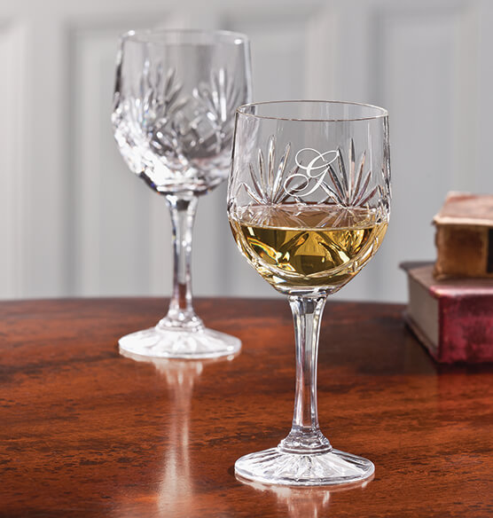 Personalized European Crystal Wine Glass set of 2