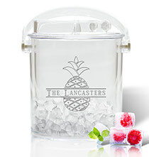 Acrylic Drinkware - Personalized Acrylic Ice Bucket and Tongs with Pineapple Design