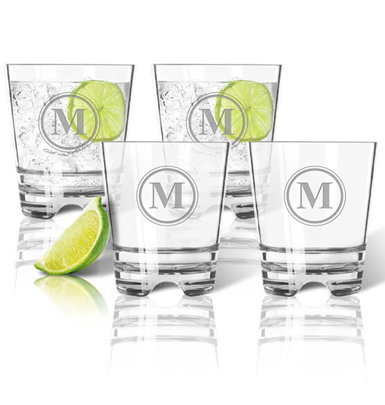 Personalized Acrylic Rocks Glass Set of 4 with Circle Monogram