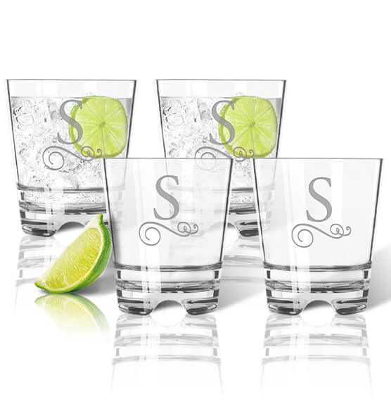 Personalized Acrylic Rocks Glass Set of 4 with Scroll Initial