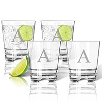 Acrylic Drinkware - Personalized Acrylic Rocks Glass Set of 4 with Times Initial