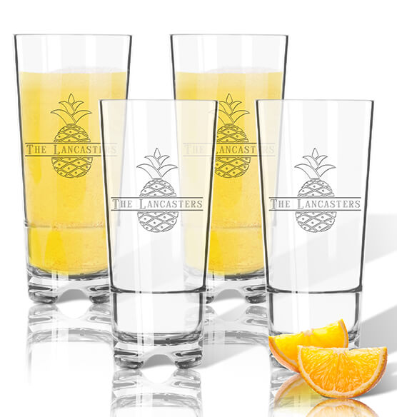 Personalized Acrylic Hign Ball Glass Set of 4 with Pineapple Design