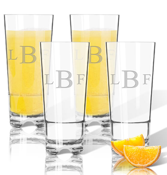 Personalized Acrylic Hign Ball Glass Set of 4 with Times Monogram