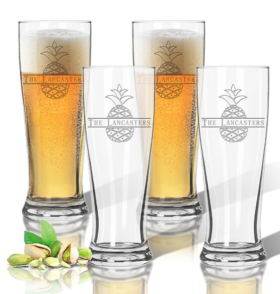 Personalized Acrylic Tall Pilsner Glass Set of 4 with Pineapple Design