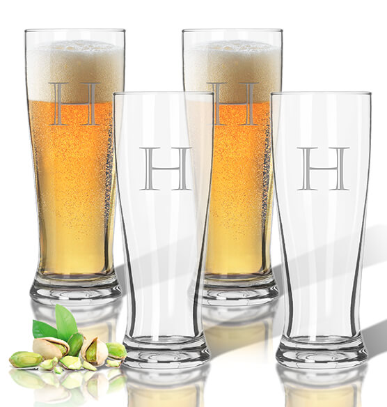 Personalized Acrylic Tall Pilsner Glass Set of 4 with Times Initial