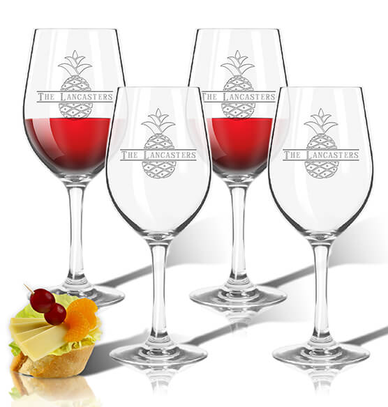 Personalized Acrylic Wine Glass Set of 4 with Pinapple Design