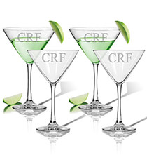 Personalized Martini Glass Set of 4 with Times Monogram