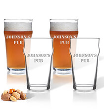 Entertaining for Him - Personalized British Pint Glass Set of 4 with Name