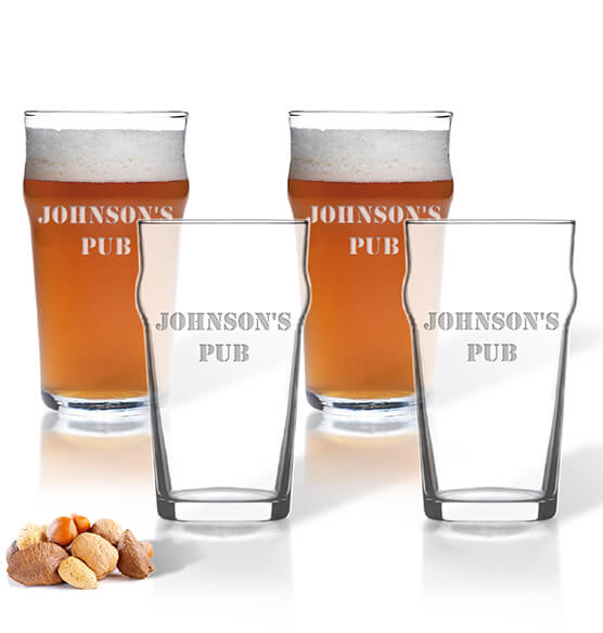 Personalized British Pint Glass Set of 4 with Name