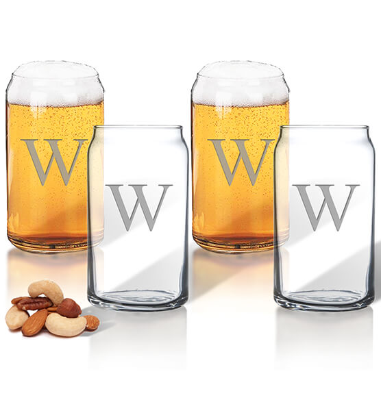 Personalized Beer Can Glass Set of 4 with Times Initial