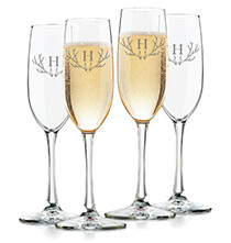 Beer, Wine & Bar Glasses - Personalized Toasting Flute Set of 4 with Antler Initial