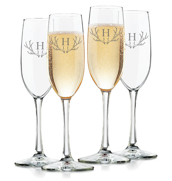 Personalized Toasting Flute Set of 4 with Antler Initial