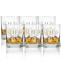 Beer, Wine & Bar Glasses - Personalized Rocks Glass Set of 6 with Antler Initial