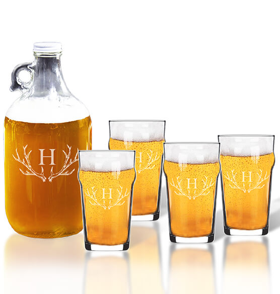Personalized British Pint and Growler Set with Antler Initial