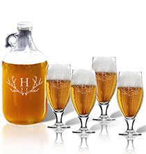 Personalized Kitchen Gifts - Personalized Cervoise and Growler Set with Antler Initial