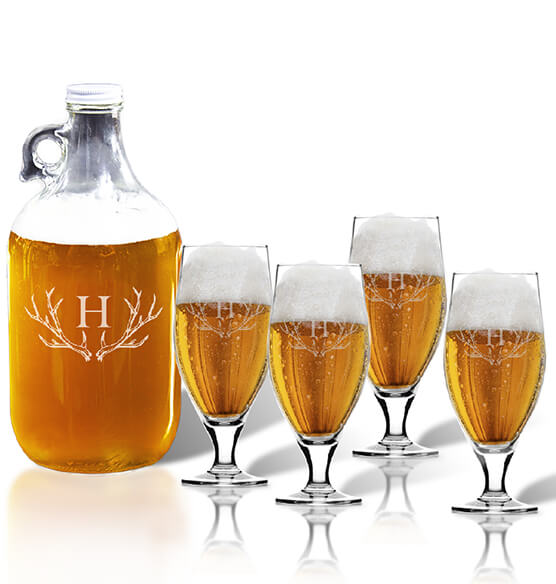 Personalized Cervoise and Growler Set with Antler Initial