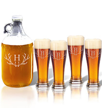 Beer, Wine & Bar Glasses - Personalized Tall Pilsner and Growler Set with Antler Initial