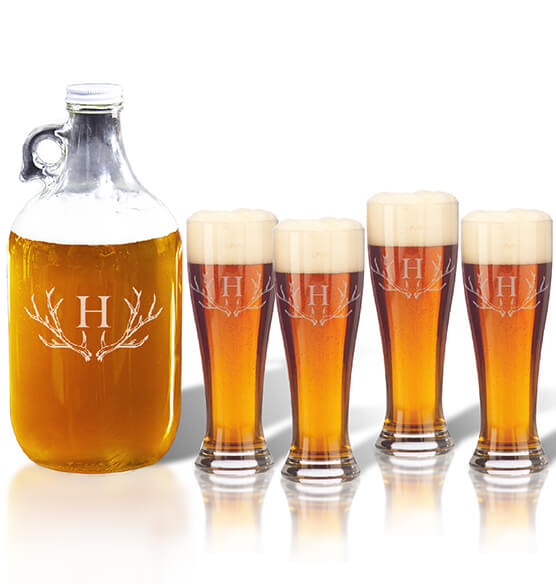 Personalized Tall Pilsner and Growler Set with Antler Initial