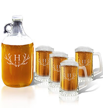 Beer, Wine & Bar Glasses - Personalized Tankard and Growler Set with Antler Initial