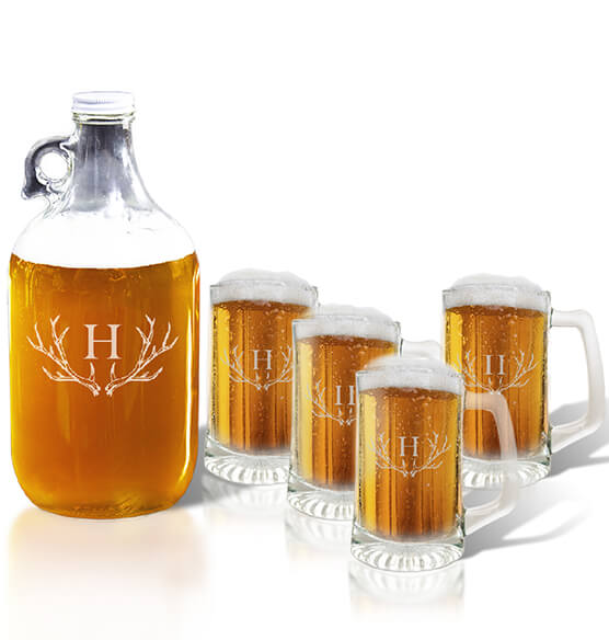Personalized Tankard and Growler Set with Antler Initial