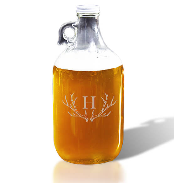 Personalized Growler with Antler Initial
