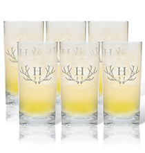 Beer, Wine & Bar Glasses - Personalized High Ball Glass Set of 6 with Antler Initial