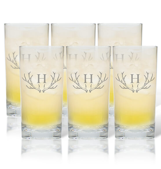 Personalized High Ball Glass Set of 6 with Antler Initial