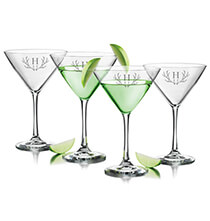 Beer, Wine & Bar Glasses - Personalized Martini Glass Set of 4 with Antler Initial