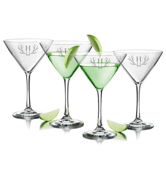 Personalized Martini Glass Set of 4 with Antler Initial