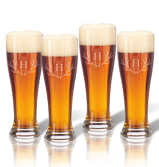 Personalized Tall Pilsner Glass Set of 4 with Antler Initial