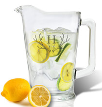 Entertaining for Him - Personalized Tall Glass 60 oz. Pitcher with Antler Initial