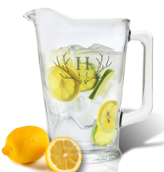 Personalized Tall Glass 60 oz. Pitcher with Antler Initial
