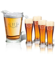 New - Personalized Tall Glass Pitcher and Pilsner Set with Antler Initial