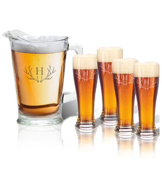 Personalized Tall Glass Pitcher and Pilsner Set with Antler Initial