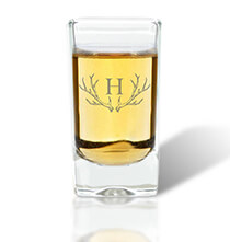 Personalized Kitchen Gifts - Personalized Shot Class with Antler Initial