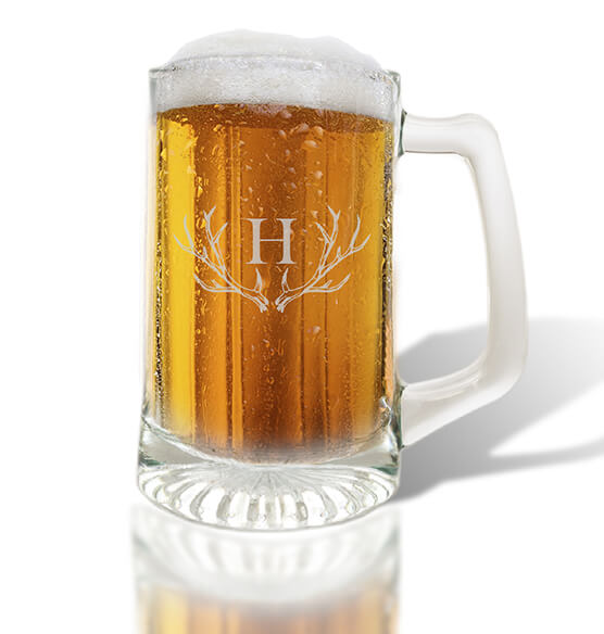 Personalized Glass Tankard with Antler Initial