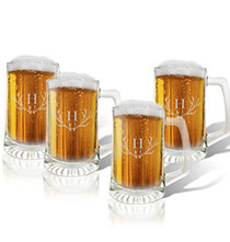 Beer, Wine & Bar Glasses - Personalized Glass Tankard Set of 4 with Antler Initial