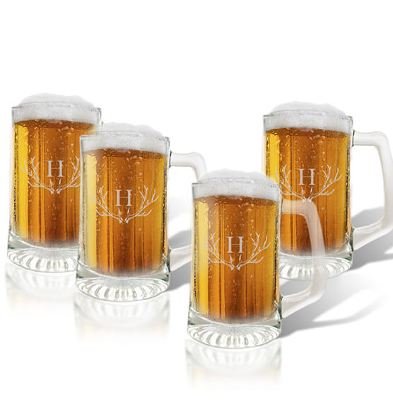 Personalized Glass Tankard Set of 4 with Antler Initial