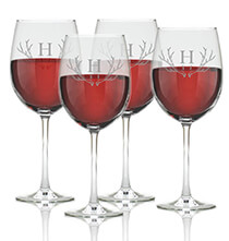 Valentine's Day - Personalized Wine Glass Set of 4 with Antler Initial