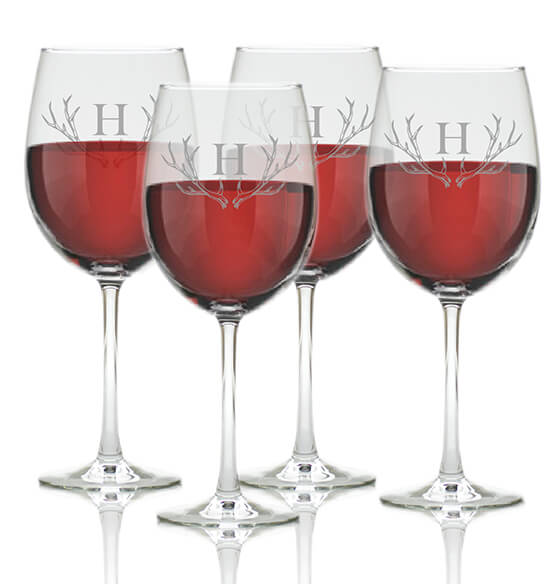 Personalized Wine Glass Set of 4 with Antler Initial
