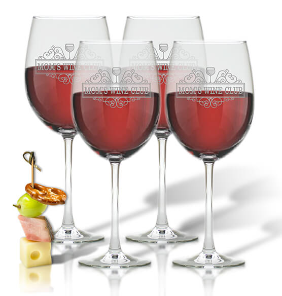 Mom's Wine Club Glass Set of 4