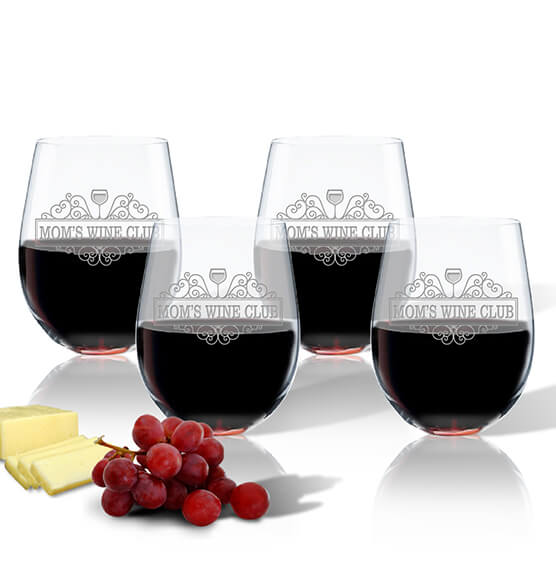 Mom's Wine Club Stemless Glass Set of 4