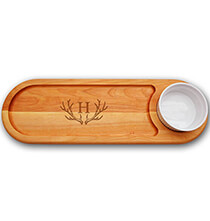 Entertaining for Him - Personalized Dipping Board with Antler Initial