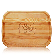 Gifts for the Hostess - Personalized Mr. & Mrs. Large Cutting Board with Year