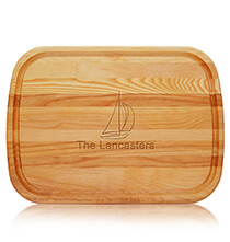 Gifts for the Hostess - Personalized Large Cutting Board with Sailboat Design