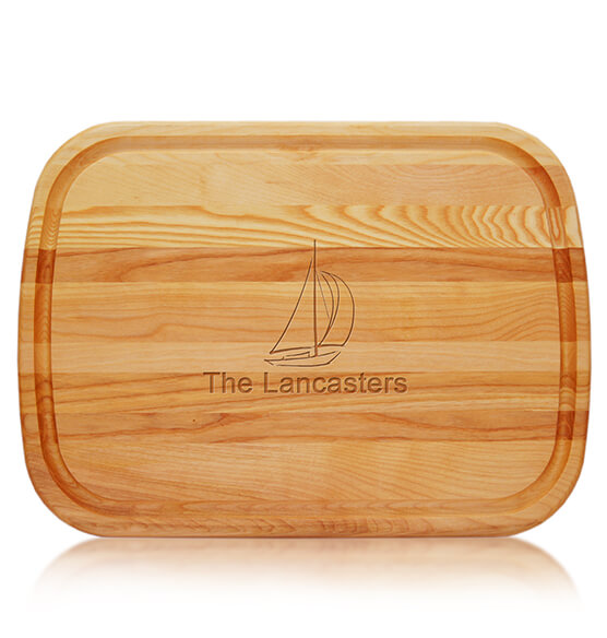 Personalized Large Cutting Board with Sailboat Design