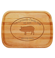 Entertaining for Him - Personalized Large Cutting Board with Pork Design